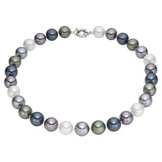 Pearlyta Sterling Silver Multi-colored Marble Shell Pearl Necklace