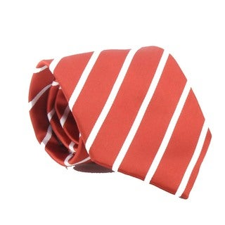 Ferrecci Men's Rust Brown Striped Necktie and Cuff Links Boxed Set