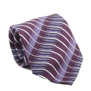 Ferrecci Men's Purple Stripes Necktie and Cuff Links Boxed Set