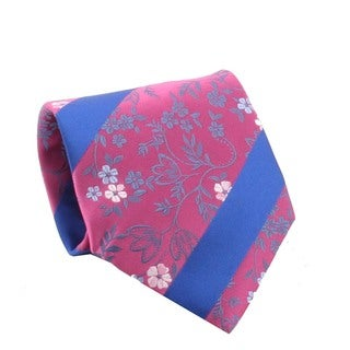 Ferrecci Men's Fuchsia/ Blue Floral Necktie and Cuff Links Boxed Set