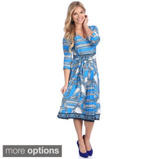 La Cera Women's Blue Geometric Print 3/4-sleeve V-Neck Dress