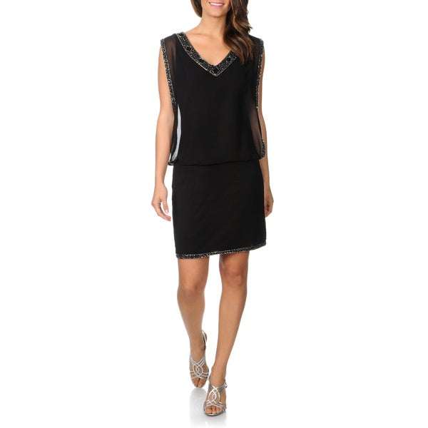 J Laxmi Women's Bead Trim Little Black Dress
