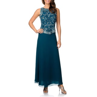 J Laxmi Women's Beaded Mock 2-piece Gown and Scarf