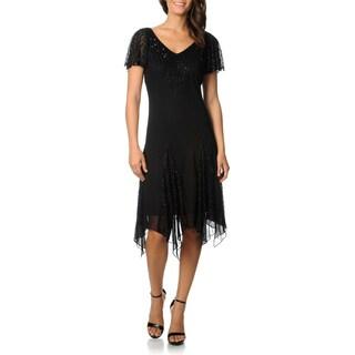 J Laxmi Women's Black Flutter Sleeve Beaded Cocktail Dress