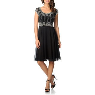 J Laxmi Women's Black Beaded-Bodice A-Line Cocktail Dress