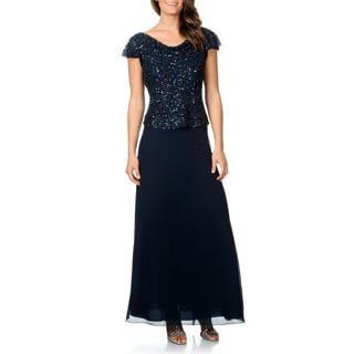 J Laxmi Women's Navy Mock 2-piece Beaded Cowl Neck Dress