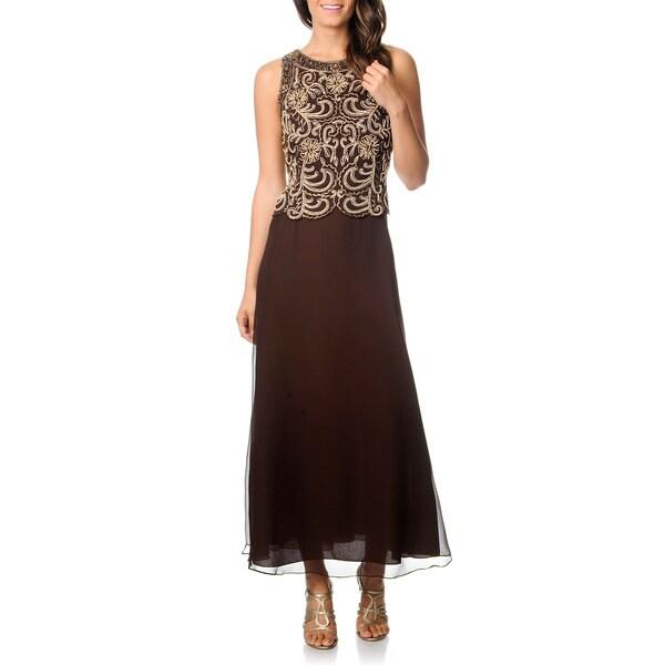J Laxmi Women's Chocolate Mock 2-piece Beaded Bodice Dress