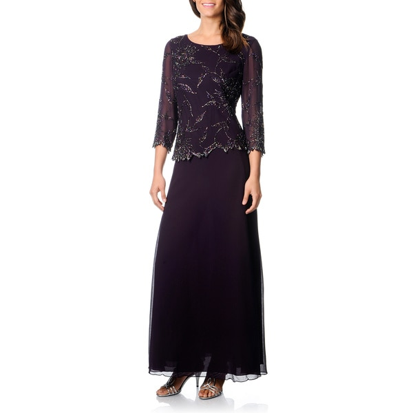 J Laxmi Women's Plum Shadow Mock 2-piece Formal Dress Plum Size 14 (As Is Item)