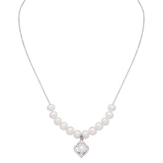 Pearlyta Sterling Silver White Freshwater Pearl Heart Necklace (7-8 mm)