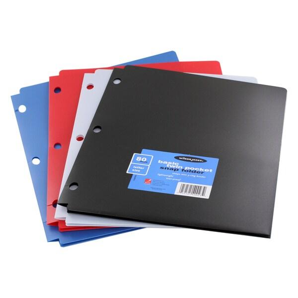 Wilson Jones Letter Size 80 Sheet Capacity Basic Twin Pocket Snap Folder