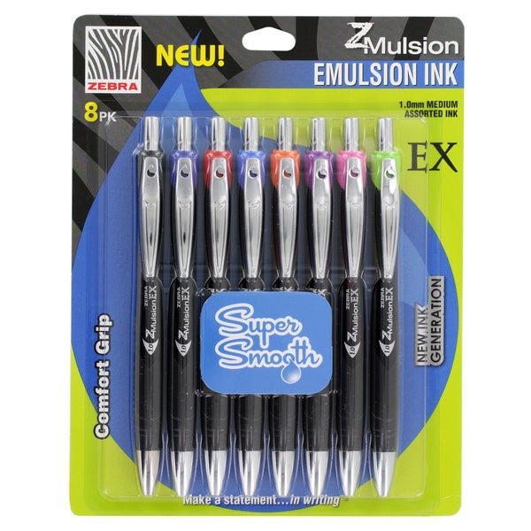 Zebra Z-Mulsion EX Retractable 1.0mm Fashion Assorted Emulsion Ink Pens (Pack of 8)