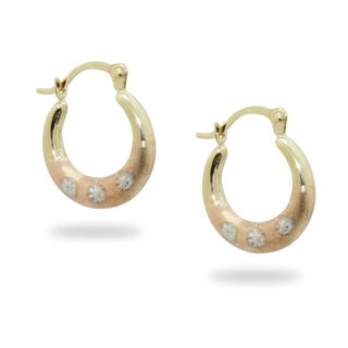 Gioelli 14k Tri-color Gold Diamond-cut Hoop Earrings