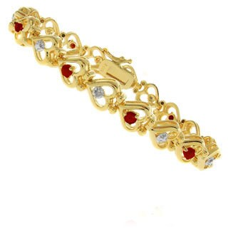 Pretty Plus 14k Gold Overlay Ruby and Diamond Accent Heart Bracelet