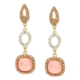 Alexa Starr Goldtone and Pink Triple Drop Fashion Earrings