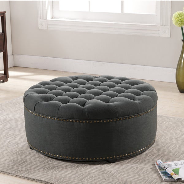 Montrose Coffee Table Baxton Studio Iglehart Gray Linen Modern Tufted Ottoman - Overstock ...