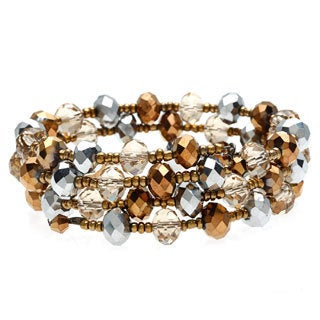 Alexa Starr Faceted Metallic Glass Coil Wrap Bracelet