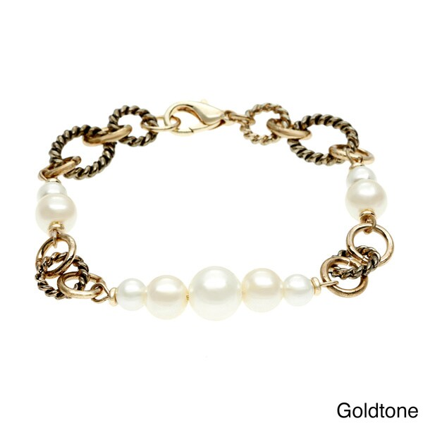 Alexa Starr Faux Pearl and Twisted Rings Bracelet