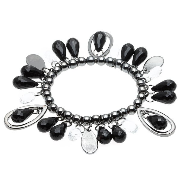 Alexa Starr Teardrop Lucite/ Hematite Beads Faceted Stretch Bracelet