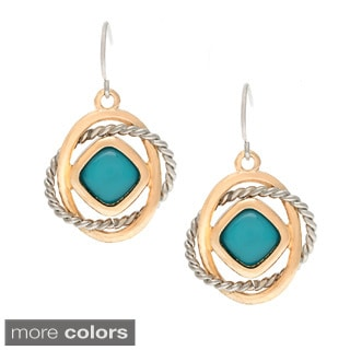 Alexa Starr Two-tone Interlocking Ring and Lucite Earrings