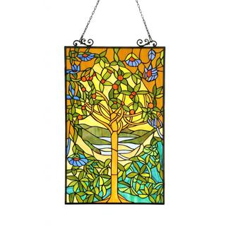 Tiffany Design Tree of Life Stained Glass Window Panel