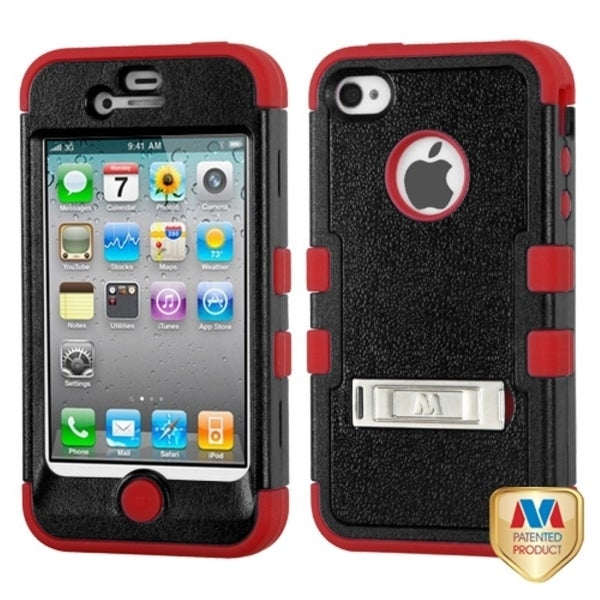 INSTEN Natural Black/ Red TUFF Hybrid Phone Case Cover for Apple iPhone 4/ 4S