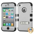 BasAcc Natural Grey/ Black TUFF Hybrid Case for Apple iPhone 4/ 4S