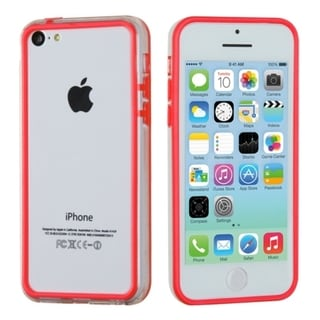 INSTEN Red/ Transparent Clear MyBumper Phone Case Cover for Apple iPhone 5C