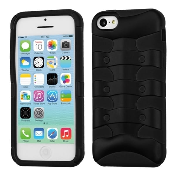 INSTEN Rubberized Black/ Black Ribcage Hybrid Phone Case Cover for Apple iPhone 5C
