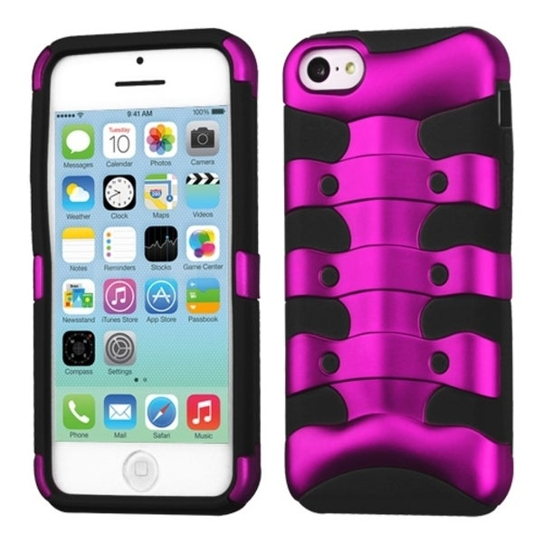 INSTEN Solid Hot Pink/ Black Ribcage Hybrid Phone Case Cover for Apple iPhone 5C