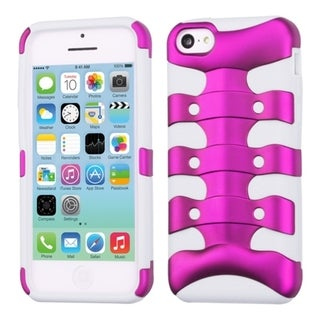 INSTEN Solid Pink/ Solid White Ribcage Phone Case Cover for Apple iPhone 5C
