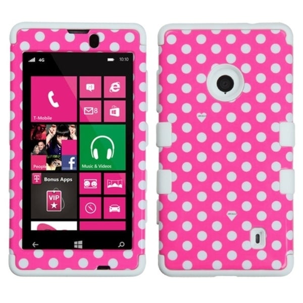 INSTEN Pink/ White Dots/ White TUFF Hybrid Phone Case Cover for Nokia 521 Lumia