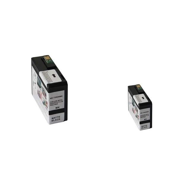 INSTEN Epson T5808MBK 80ml Matte Black Ink Cartridge Set (Remanufactured) (Pack of 2)