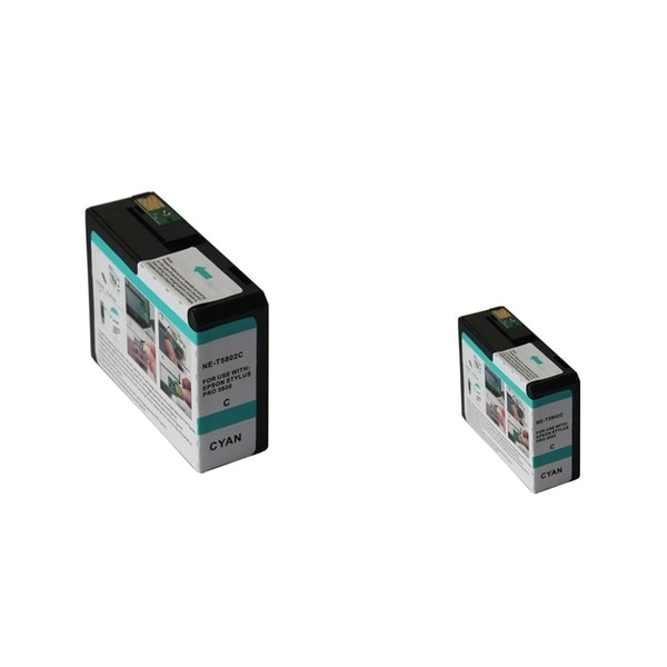 INSTEN Epson T5802C 80ml Cyan Ink Cartridge Set (Remanufactured) (Pack of 2)