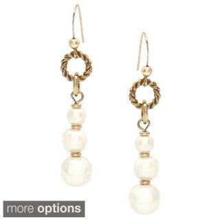 Alexa Starr Linear Faux Pearl and Burnished Metal Drop Earrings