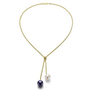 Gold over Silver White and Black Pearl Lariat Necklace (9-10 mm)