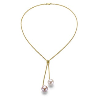 Gold over Silver White and Pink Pearl Lariat Necklace (9-10 mm)