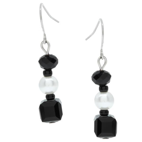 Alexa Starr Black and White Glass Bead Triple Drop Earrings