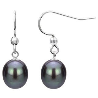 Sterling Silver Black Freshwater Pearl Dangle Earring (7-12 mm)