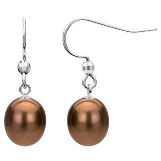 Sterling Silver Brown Freshwater Pearl Dangle Earring (7-12 mm)