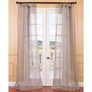 Piera Taupe Grey Patterned Sheer Curtain Panel
