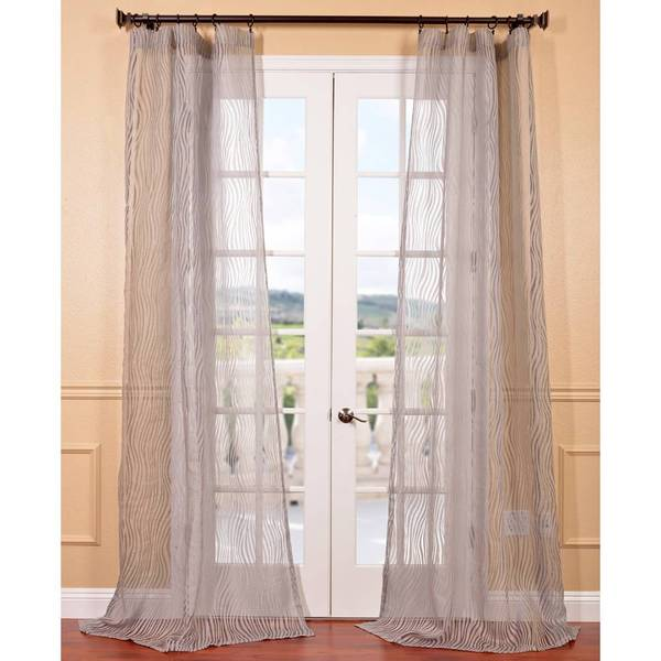 EFF Piera Taupe Grey Patterned Sheer Curtain Panel