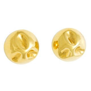 18k Yellow Gold Pinched Dome Earrings