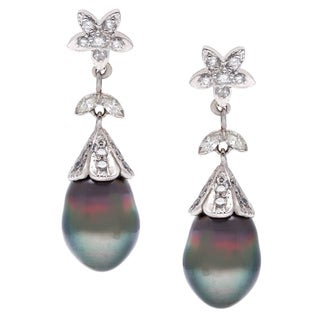 18k White Gold 1ct TDW Estate Pearl Drop Earrings (I-J, SI1-SI2)