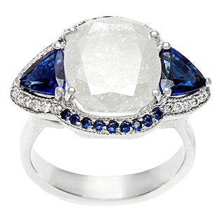 18k White Gold Sapphire and 6 1/2ct TDW Diamond Estate Ring (I-J, I3)