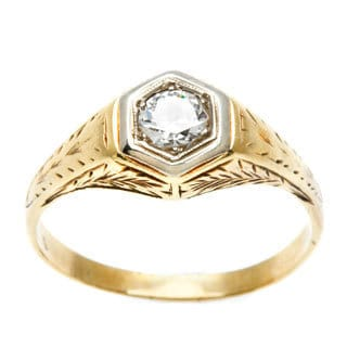 14k Yellow Gold 2/3ct TDW Diamond Antique Estate Engagement Ring (G-H, SI1-SI2)