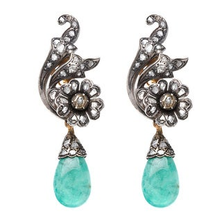18k Yellow Gold and Silver 1ct TDW Diamond and Emerald Antique Estate Earrings (L-M, I2-I3)