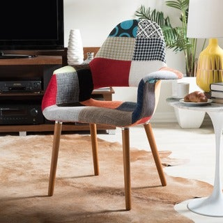 Baxton Studio Forza Patchwork Mid-Century Style Accent Chairs (Set of 2)