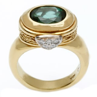 18k Yellow Gold Green Tourmaline and 1/7ct TDW Diamond Freeform Ring (H-I, SI1-SI2)