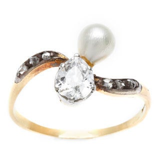 15k Yellow Gold 3/4ct TDW Diamond and Natural Pearl Victorian Estate Ring (G-H, SI1-SI2)