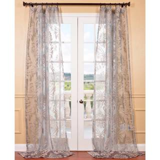 Agatha Taupe Grey Patterned Sheer Curtain Panel